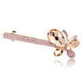 Rhinestone Crystal Butterfly Hair Barrette Clip Metal Hair Slide - Pink