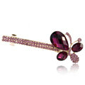 Rhinestone Crystal Butterfly Hair Barrette Clip Metal Hair Slide - Purple
