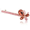Rhinestone Crystal Butterfly Hair Barrette Clip Metal Hair Slide - Red