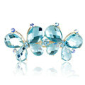 Rhinestone Crystal Butterfly Hair Clip Barrette Metal Hair Slide - Blue