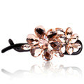 Rhinestone Crystal Flower Twist Hair Clip Slide Clamp Hair Accessories - Champagne