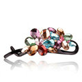 Rhinestone Crystal Flower Twist Hair Clip Slide Clamp Hair Accessories - Multicolor