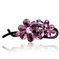 Rhinestone Crystal Flower Twist Hair Clip Slide Clamp Hair Accessories - Purple