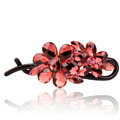 Rhinestone Crystal Flower Twist Hair Clip Slide Clamp Hair Accessories - Red