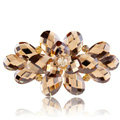Big Crystal Rhinestone Flower Hair Barrette Clip Metal Hairpin - Coffee