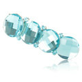 Big Round Crystal Rhinestone Hair Barrette Clip Metal Hairpin - Blue