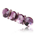 Big Round Crystal Rhinestone Hair Barrette Clip Metal Hairpin - Purple
