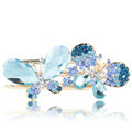 Bling Crystal Rhinestone Butterfly Hair Barrette Clip Metal Hairpin - Blue