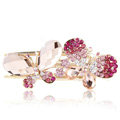 Bling Crystal Rhinestone Butterfly Hair Barrette Clip Metal Hairpin - Pink