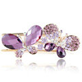 Bling Crystal Rhinestone Butterfly Hair Barrette Clip Metal Hairpin - Purple