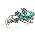 Crystal Rhinestone Butterfly Retro Hairpin Duckbill Clip Hair Slide Clamp - Blue