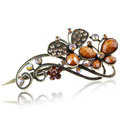 Crystal Rhinestone Butterfly Retro Hairpin Duckbill Clip Hair Slide Clamp - Coffee