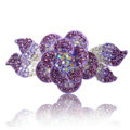Crystal Rhinestone Elegant Flower Hair Barrette Clip Metal Hairpin - Purple