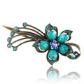 Crystal Rhinestone Flower Retro Hairpin Duckbill Clip Hair Slide Clamp - Blue