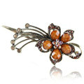 Crystal Rhinestone Flower Retro Hairpin Duckbill Clip Hair Slide Clamp - Coffee