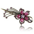 Crystal Rhinestone Flower Retro Hairpin Duckbill Clip Hair Slide Clamp - Purple
