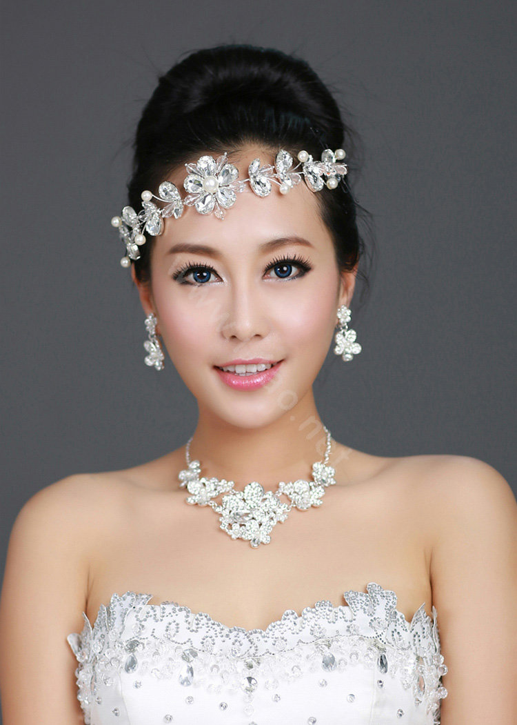 buy wholesale wedding bride jewelry crystal flower pearl headpiece