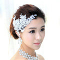 Wedding Bride Jewelry Crystal Lace Simple Headband Headpiece Flower Hair Accessories