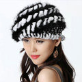 Autumn and Winter Women Knitted Rex Rabbit Mink Fur Beret Hats Warm Caps - Black