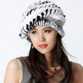 Autumn and Winter Women Knitted Rex Rabbit Mink Fur Beret Hats Warm Caps - White