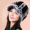 Autumn and winter Women's Knitted Rex Rabbit Fur Hats beret hat Stripe Warm Caps - Black Grey