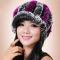Autumn and winter Women's Knitted Rex Rabbit Fur Hats beret hat Stripe Warm Caps - Black Purple