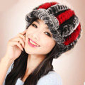 Autumn and winter Women's Knitted Rex Rabbit Fur Hats beret hat Stripe Warm Caps - Black Red