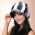 Autumn and winter Women's Knitted Rex Rabbit Fur Hats beret hat Stripe Warm Caps - Black White