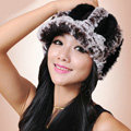 Autumn and winter Women's Knitted Rex Rabbit Fur Hats beret hat Stripe Warm Caps - Brown Black