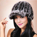 Autumn and winter Women's Knitted Rex Rabbit Fur Hats beret hat Stripe Warm Caps - Brown