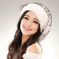Autumn and winter fur rabbit beret hat warm caps cold-proof rex rabbit hair hat - Black White