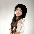 Autumn and winter fur rabbit beret hat warm caps cold-proof rex rabbit hair hat - Black
