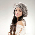 Autumn and winter fur rabbit beret hat warm caps cold-proof rex rabbit hair hat - Coffee