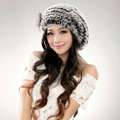 Autumn and winter fur rabbit beret hat warm caps cold-proof rex rabbit hair hat - Gray