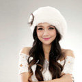 Autumn and winter fur rabbit beret hat warm caps cold-proof rex rabbit hair hat - White