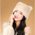 Child kids Rabbit Fur Hat Knitted Thicker Winter Warm Cute Baby female Caps - Beige