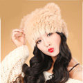 Child kids Rabbit Fur Hat Knitted Thicker Winter Warm Cute Baby female Caps - Khaki