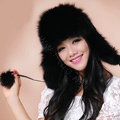 Fashion Women Fox Fur Hats Winter Warm Whole Leather Ear protector Caps - Black