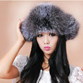 Fashion Women Fox Fur Hats Winter Warm Whole Leather Ear protector Caps - Gray