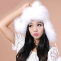 Fashion Women Fox Fur Hats Winter Warm Whole Leather Ear protector Caps - White
