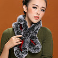 Fashion Women Knitted Rex Rabbit Fur Scarves Winter warm Flower Wave Neck wraps - Black Red