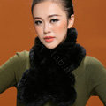 Fashion Women Knitted Rex Rabbit Fur Scarves Winter warm Flower Wave Neck wraps - Black