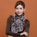 Fashion Women Knitted Rex Rabbit Fur Scarves Winter warm Flower Wave Neck wraps - Coffee