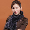 Fashion Women Knitted Rex Rabbit Fur Scarves Winter warm Flower Wave Neck wraps - Navy