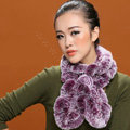 Fashion Women Knitted Rex Rabbit Fur Scarves Winter warm Flower Wave Neck wraps - Purple White
