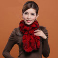 Fashion Women Knitted Rex Rabbit Fur Scarves Winter warm Flower Wave Neck wraps - Red