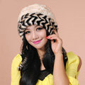 Fashion Women Mink hair Fur Hat Winter Warm Handmade Knitted Caps - Beige Black