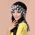 Fashion Women Mink hair Fur Hat Winter Warm Handmade Knitted Caps - Black