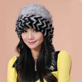 Fashion Women Mink hair Fur Hat Winter Warm Handmade Knitted Caps - Grey Black