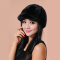 Fashion Women Mink hair Fur Hats Winter Warm Whole Leather Peaked Caps - Black
